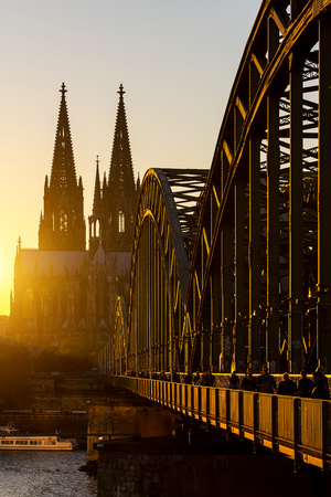 oldtown: view of the Cologne Cathedral and the Hohenzollern Bridge at sunset