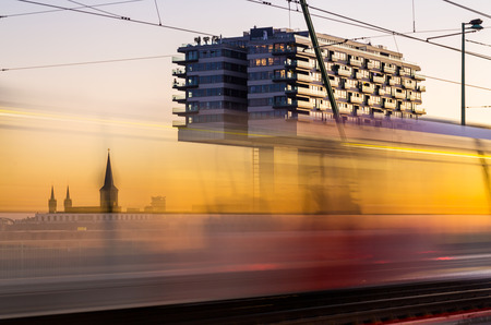 housebuilding: crane housebuilding in Cologne at sunset in Germany