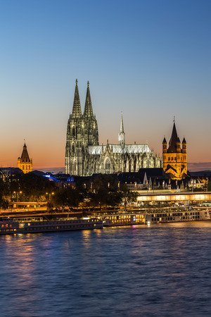 night dusk: View of the Cathedral of Cologne at Sunset