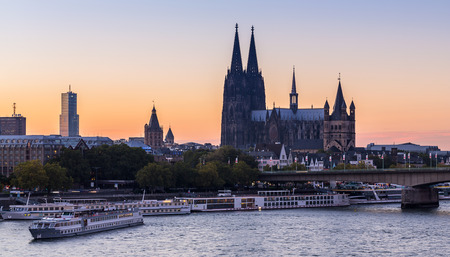 cologne: cologne city with Cologne Cathedral at sunset