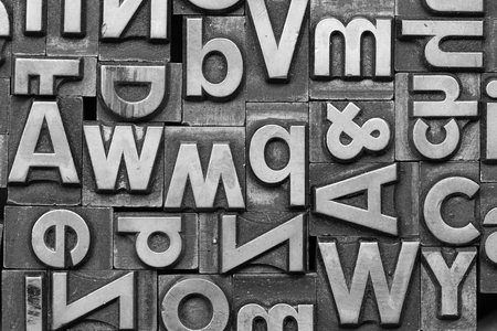 typesetter: Old different print letters Stock Photo