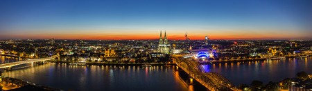 panoramic view: Panoramic view of cologne at sunset in Germany