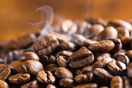 macro closeup from roasted coffee beans hot