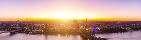 panoramic view: Panoramic view of cologne in germany at sunset