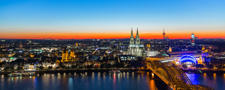 panoramic view: cologne skyline at sunset in Germany Stock Photo