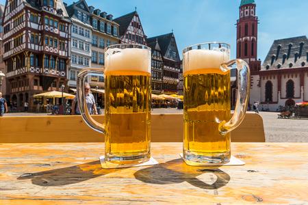 beer garden in Frankfurt City, at the Romerberg square