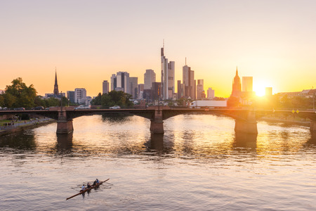 financial district: Frankfurt, Germany financial district skyline at Sunset Editorial