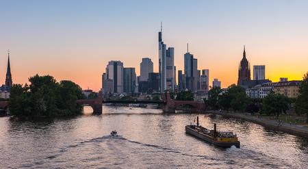 Sunset silhouette of Frankfurt, germany