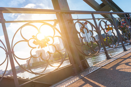 connectedness: Love locks bridge at Frankfurt in germany