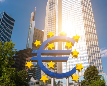 Euro sign at European Central Bank headquarters in Frankfurt am Main, germany Stock Photo