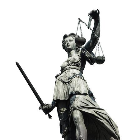 rechtvaardigheid - Justizia op een witte achtergrond Stockfoto