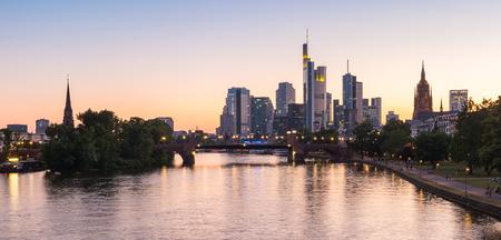 Frankfurt skyline during sunset blue hour, germany Stock Photo