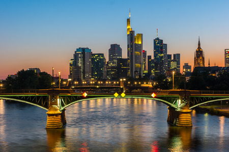 View of Frankfurt skyline at Sunset Germany Stock Photo