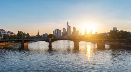 Summer sunset view of Frankfurt city, germany