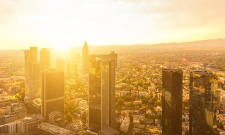 Modern skyline of Frankfurt at sunset, Germany