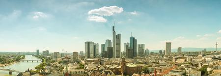 Frankfurt financial district skyline panorama retro