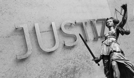 justitia: Lady of Justice (Justitia) with Justice Text