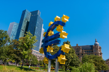 EURO sign at the financial district in Frankfurt Editorial
