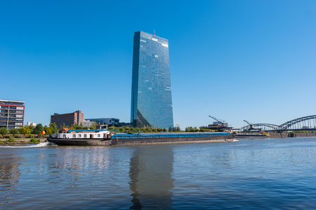ecb: new headquarters of the European Central Bank or ECB in Frankfurt