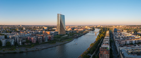 ecb: Panorama of Frankfurt with ECB European Central Bank at Sunset Editorial