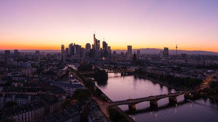 Frankfurt skyline silhouette at sunset Summer panorama Editorial