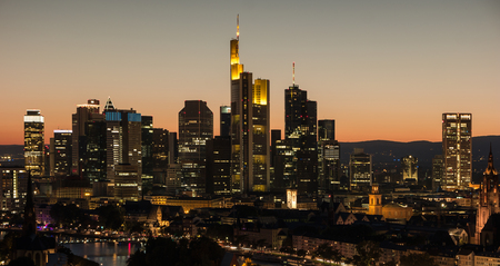 districts: Frankfurt am Main, Germany financial district skyline at night