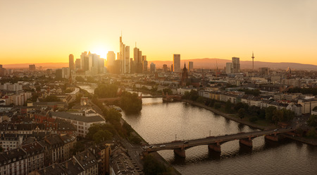 west river: Summer Sunset panorama of the financial district in Frankfurt