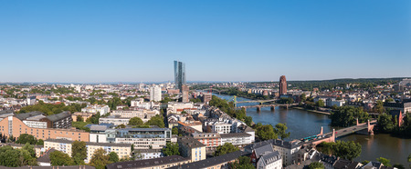 headquaters: panoramic view of Frankfurt, germany Stock Photo