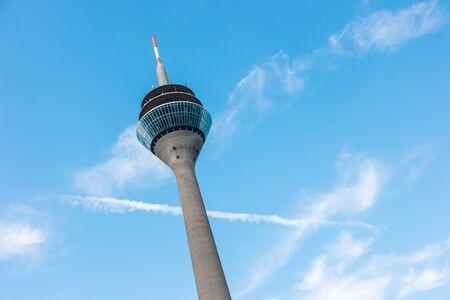 Close view of the tower Rheinturm of Dusseldorf in Germany Stock Photo