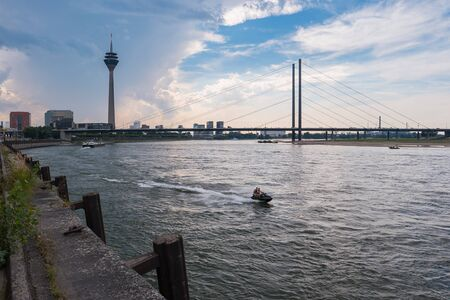 View of Dusseldorf at the Rhine river at a cloudy day, germany Editorial