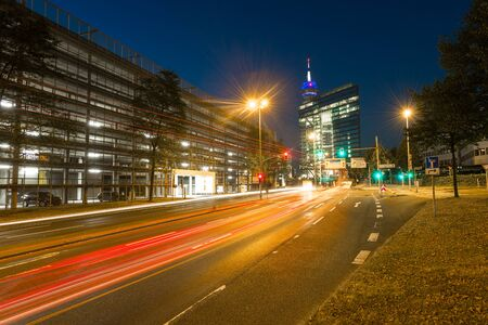 Gate into the city of Dusseldorf tunnel at night