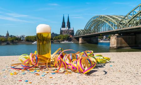 Tra?di?tio?nal beer (Kölsch) at carnival at cologne