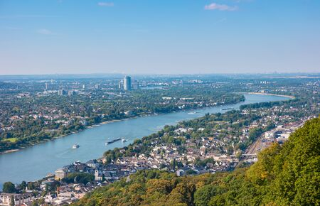 Bonn at the rhine river view from the Drachenfels
