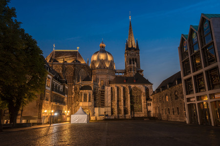 Aachen Cathedral at blue hour Stock Photo