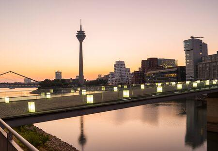 Dusseldorf medienhafen at the sunrise