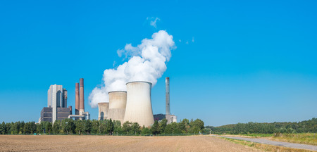 lignite: lignite power plant in germany at summer panorama Stock Photo