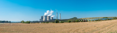 lignite power plant, solar power, wind turbines panorama Stock Photo