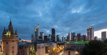 Frankfurt skyline and old town view at dusk