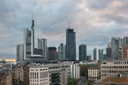 Frankfurt skyline view at a cloudy day