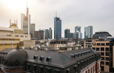 west river: Frankfurt skyline at a cloudy day