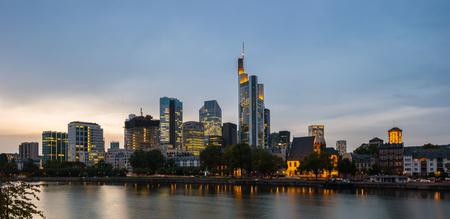 Frankfurt skyline with skyscraper buildings at dusk