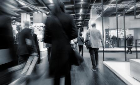 Blurred European Trade Fair visitors