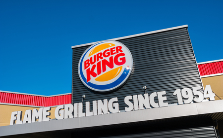 oft: AACHEN, GERMANY JANUARY, 2017: Burger King sign. Burger King, oft abbreviated as BK, is a global chain of hamburger fast food restaurants, United States. Editorial