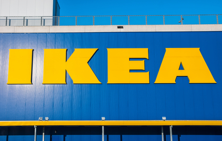 shop sign: HEERLEN, NETHERLANDS FEBRUARY, 2017: Ikea logo on a store. IKEA is the worlds large largest furniture retailer and sells ready-to-assemble furniture. Founded in Sweden in 1943rd Editorial