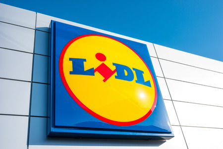 ESCHWEILER, GERMANY FEBRUARY, 2017: LIDL supermarket chain sign. LIDL is a German global discount supermarket chain, based in Neckarsulm, Baden-Wuerttemberg, Germany.