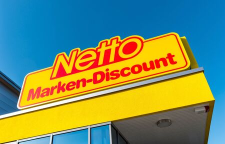 AACHEN, GERMANY FEBRUARY, 2017: Net discount store logo. It is part of Edeka Group, large largest German supermarket corporation Employing 250,000 people.