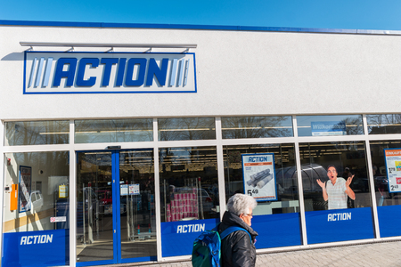 shop sign: AACHEN, GERMANY FEBRUARY, 2017: ACTION Store. ACTION is a International non-food discounter with over 35,000 employees and more than 850 branches in the Netherlands, Belgium, Germany, France.