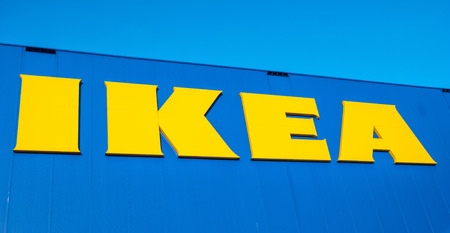 HEERLEN, NETHERLANDS FEBRUARY, 2017: The Ikea logo. IKEA is the worlds large largest furniture retailer and sells ready-to-assemble furniture. Founded in Sweden in 1943rd