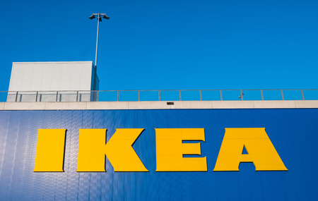 HEERLEN, NETHERLANDS FEBRUARY, 2017: Ikea logo on a store. IKEA is the worlds large largest furniture retailer and sells ready-to-assemble furniture. Founded in Sweden in 1943rd Editorial