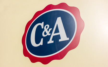 clothing stores: ESCHWEILER, GERMANY FEBRUARY, 2017: C & A store sign. C & A is an international Dutch chain of fashion retail clothing stores. It has retail stores in many countries in Europe, Central and South America